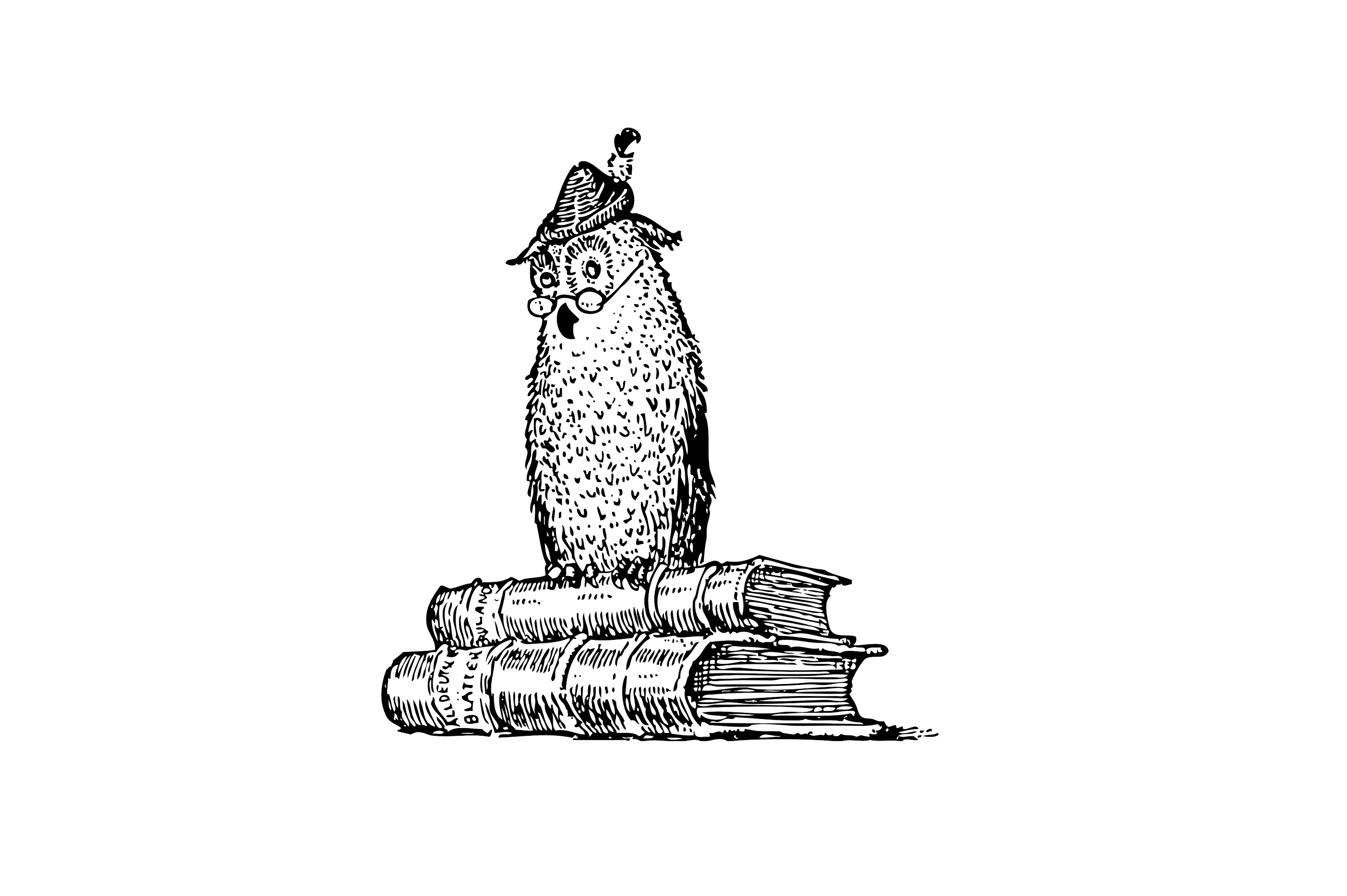 Graphic of owl on books
