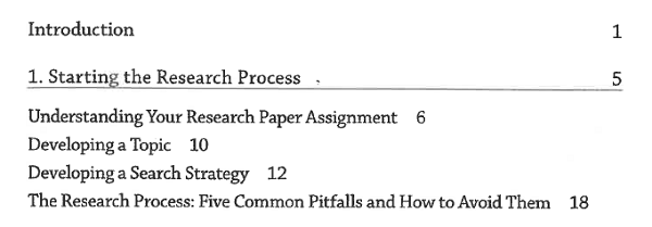 Table of contents page from Elizabeth Brookbank and H. Faye Christenberry's MLA Guide to Undergraduate Research in Literature