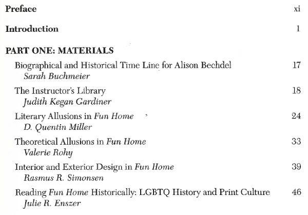 Table of contents page from Approaches to Teaching Bechdel's Fun Home, edited by Judith Kegan Gardiner