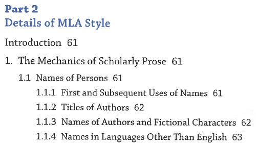 Table of contents page from the MLA Handbook, 8th ed.